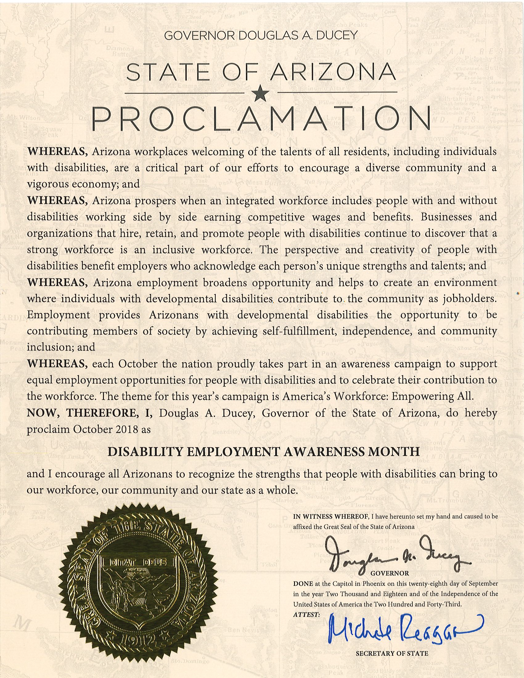 2018 Disability Employment Awareness Month Proclamation