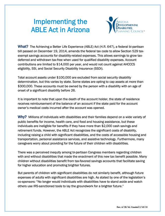 Implementing the ABLE Act