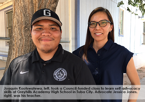 Joaquin Kootswatewa, left, took a Council-funded class to learn self-advocacy skills at Greyhills Academy High School in Tuba City. Advocate Jessica Jones, right, was his teacher.