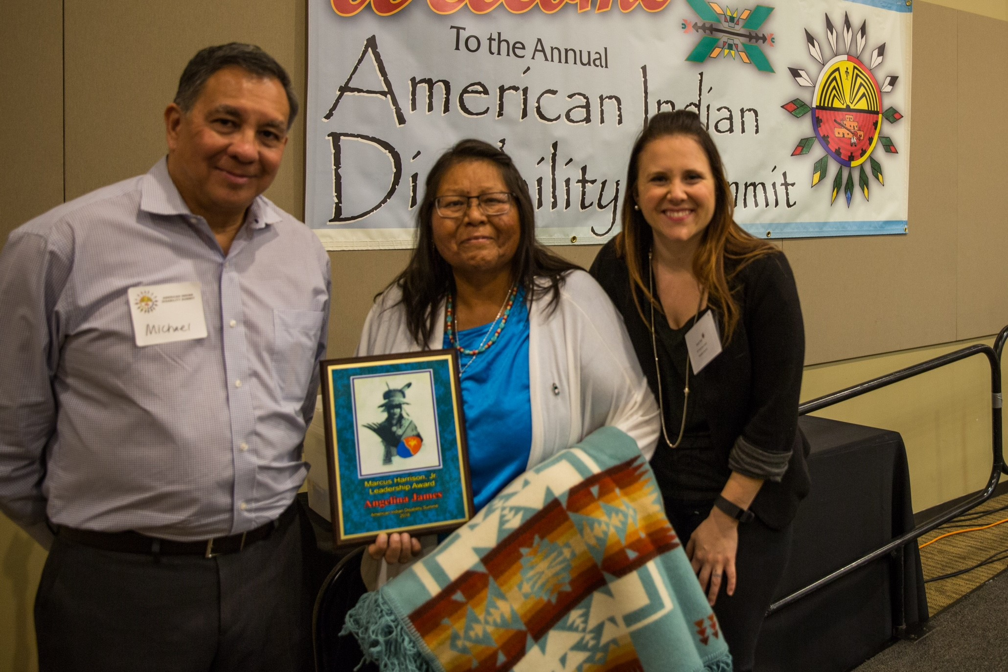 Angie James, Mike Leyva and Sarah Ruf at American Indian Disability Summit